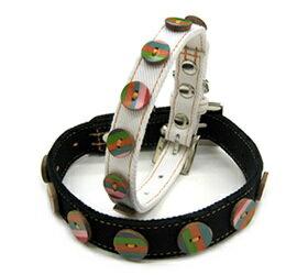 愛犬 首輪 カラフルなレザーボタンに軽い素材感♪小型犬用首輪 ASHU マーブル カラー サ...