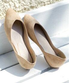Vカットスエードフラットパンプス【miniaミニア】Vカットラインで足元スッキリ美脚効果♪ローヒールとんがりポインテッドぺたんこレディースシューズ靴