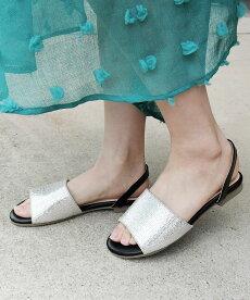 箔ラフィアバックストラップサンダル【alala/miniaミニア】ストラップフラットフラットサンダルバックバンドオープントゥぺたんこリゾートレディースシューズ靴