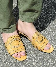 カットワークミュール【alala/miniaミニア】ミュールサンダルスリッパサンダルスリッパ風つっかけチャンキーヒール太ヒールカットワークスエードレディースシューズ靴