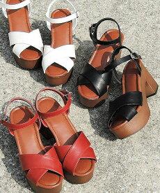 厚底ヒールクロスサンダル【miniaミニア】厚底厚底サンダルプラッフォームストラップレディースシューズ靴