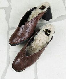 レディースシューズ・バッグminiaのボアインソールバブーシュ痛くない歩きやすいブラック黒ブラウンクロコ型押しPUヒールバブーシュスリッパつっかけSMLLL22.5cm23.0cm23.5cm24.0cm24.5cm