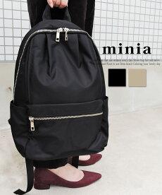 レディースシューズ・バッグminiaの多ポケットリックサック多機能大容量バックパックリュックボディバッグナイロンブラック黒ベージュスポーティストリート鞄かばんBAG