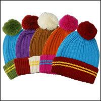 ボーダーボンボンニット帽カラー:ブルー×グリーン/犬服お揃い商品