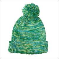 ミックスカラーボンボンニット帽カラー:グリーンミックス