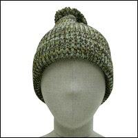 ミックスカラーボンボンニット帽カラー:カーキミックス
