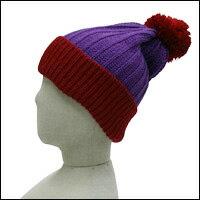 ボーダーボンボンニット帽カラー:パープル×レッド/犬服お揃い商品