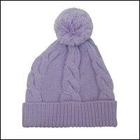 ボンボン縄編みニット帽カラー:パープル