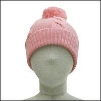 ボンボン縄編みニット帽カラー:ピンク