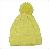 ボンボン縄編みニット帽カラー:イエロー