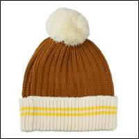 ボーダーボンボンニット帽カラー:ブラウン×ベージュ/犬服お揃い商品
