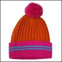クーポン付き♪ボーダーボンボンニット帽カラー:ピンク×レッド【フリーサイズ/男女兼用】【メール便OK】【あす楽対応】