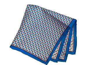 ポケットチーフ シルクチーフ メンズ 紳士 Silk 英国 マイケルソン of ロンドン 大判 Square Geometric Blue/Red/White Size35x35cm C105