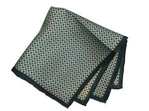 ポケットチーフ シルクチーフ メンズ 紳士 Silk 英国 マイケルソン of ロンドン 大判 Spot Green/Teal Size35x35cm C108