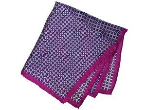 ポケットチーフ シルクチーフ メンズ 紳士 Silk 英国 マイケルソン of ロンドン 大判 Spot Purple/White Size35x35cm C113