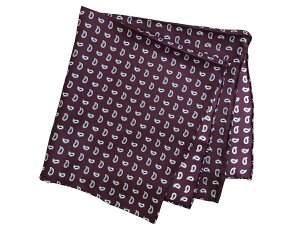 ポケットチーフ シルクチーフ メンズ 紳士 Silk 英国 マイケルソン of ロンドン 大判 Purple/Blue/White Paisley Size45x45cm C138