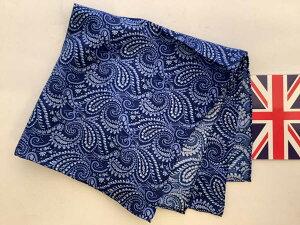 ポケットチーフ シルクチーフ メンズ 紳士 Silk 英国 マイケルソン of ロンドン 大判 Blue Paisley Size45x45cm C160