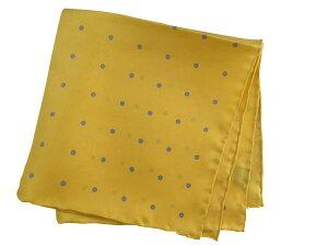 ポケットチーフ シルクチーフ メンズ 紳士 Silk 英国 マイケルソン of ロンドン 大判チーフ Size40x40cm Yellow/Blue Dot C295