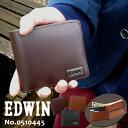 EDWIN エドウィン 二つ折り財布 ボンデットレザー 0510445 メンズ ウォレット レザー アンティーク ブラック チョコ ブラウン【メール便送料無料】父の日 プレゼント バレンタイン