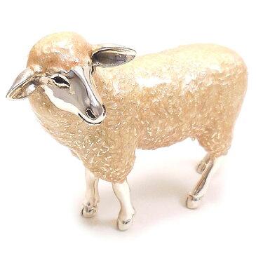 置き物 オブジェ シルバー925 羊 ヒツジ 大 エナメル彩色 イタリア製 サツルノ インポート