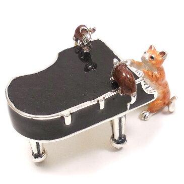 置き物 オブジェ シルバー925 猫とねずみ ピアノ エナメル彩色 イタリア製 サツルノ インポート