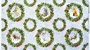 WP-4072 トナカイ、小鳥、ウサギ、クマ、アライグマ、キツネ クリスマス・リース・パネル/グレー 110*62 未完成品 コットンプリント生地 1