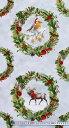 WP-4072 トナカイ、小鳥、ウサギ、クマ、アライグマ、キツネ クリスマス・リース・パネル/グレー 110*62 未完成品 コットンプリント生地 2