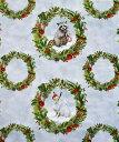 WP-4072 トナカイ、小鳥、ウサギ、クマ、アライグマ、キツネ クリスマス・リース・パネル/グレー 110*62 未完成品 コットンプリント生地 3