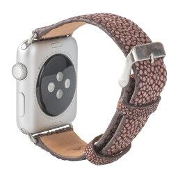 Revetta エイ革 ガルーシャ スティングレイ Apple Watch バンド ベルト ブラウン 茶 42mm [091-2stab42]
