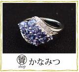 指輪 レディース 金 K14 おしゃれ タンザナイト ダイヤモンド リング 中古 9号 2.6g 指輪 青色 送料無料 激安 質屋