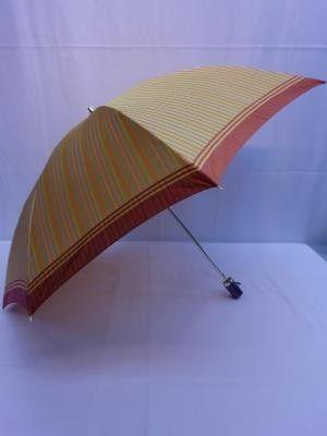 雨傘・折畳傘-婦人甲州産先染朱子織格子生地使用2段日本製折畳雨傘