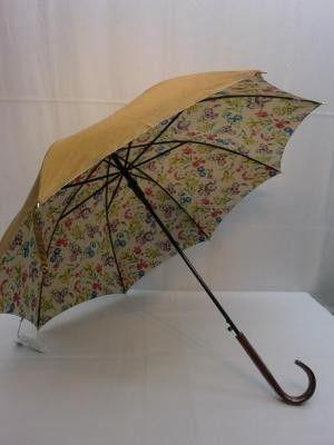 雨傘・長傘-婦人シャンタン無地裏花プリント軽黒骨日本製ジャンプ雨傘
