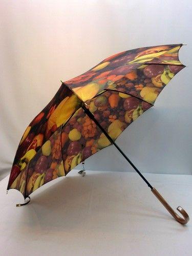 雨傘・長傘-婦人カルデツイル果物屋柄軽量日本製ジャンプ雨傘