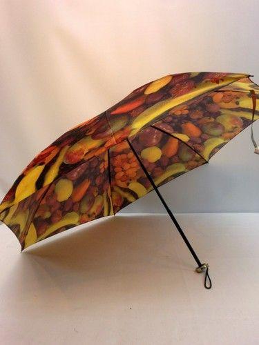 雨傘・折畳傘-婦人超軽量カルゼツイル生地フルーツ柄丸ミニ日本製折畳雨傘