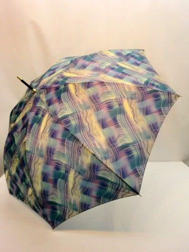 雨傘・長傘-婦人日本製ポリエステル波線ぼかしプリント軽量ジャンプ雨傘。