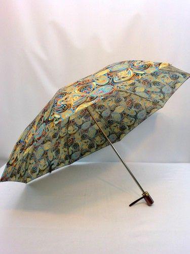 雨傘・折畳傘-婦人日本製蝶ハナ柄軽量金骨2段式折畳雨傘