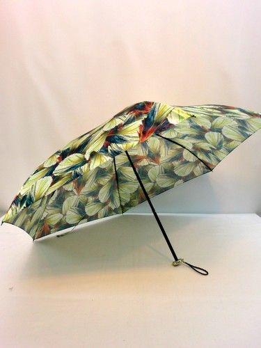 雨傘・折畳-婦人日本製綾織転写プリント鳥羽毛柄携帯用丸ミニ折畳雨傘