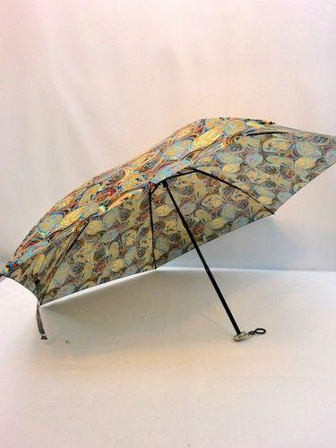 雨傘・折畳傘-婦人日本製極薄生地転写プリント蝶ハナ柄携帯用丸ミニ折畳雨傘
