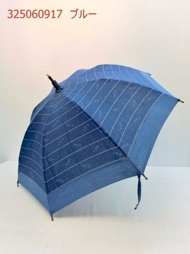 日傘・長傘UVケ・アカーボン骨・中棒樫・手元さくら・伝統久留米絣日傘