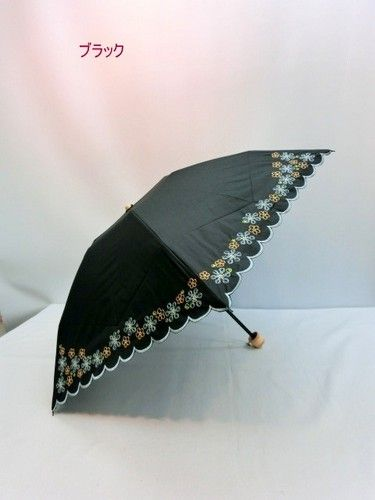 晴雨兼用・折畳傘−婦人遮光率99.99%多頭刺繍ガーデンフローラル柄軽量晴雨兼用ミニ折畳傘