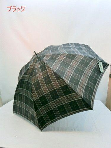 雨傘・長傘-紳士甲州産先染め格子日本製紳士ジャンプ傘