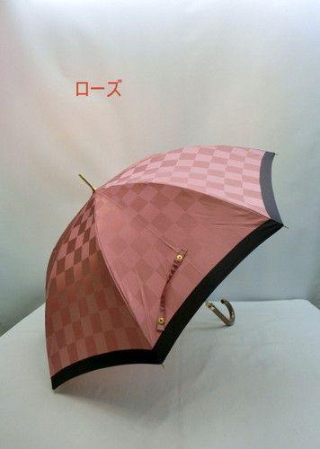 雨傘・長傘−婦人甲州産先染朱子格子市松柄日本製ジャンプ雨傘