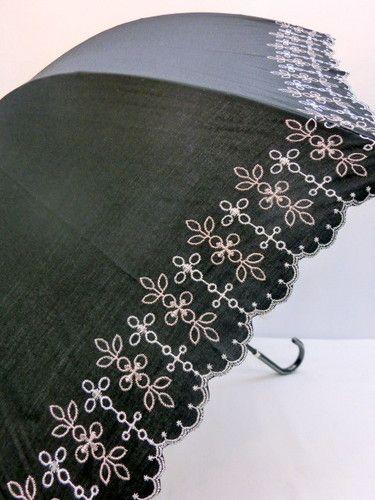晴雨兼用・長傘-婦人UVカット99%中棒スライド式豪華スカラ刺繍晴雨兼用長傘
