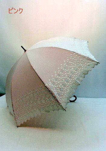 日傘・長傘-婦人UVカット99%ストライプ生地スカラエンブロ手開き日傘