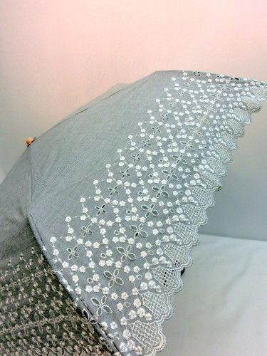 日傘・折畳傘-婦人UVカット90%以上ダンガリースカラエンブロ丸ミニ折り畳みパラソル