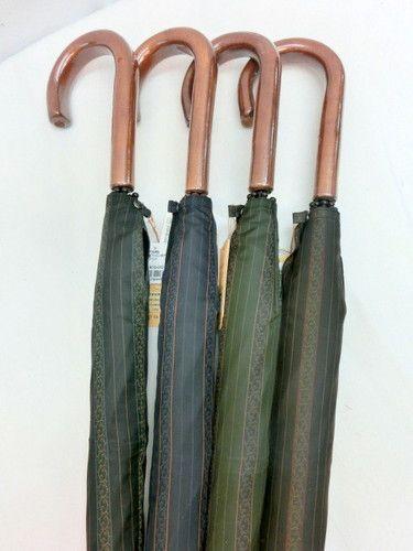 雨傘・長傘−紳士甲州産先染ジャガードストライプグラスファイバー骨日本製手開傘