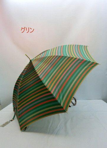 雨傘・長傘-婦人甲州産先染め朱子格子軽量金骨ジャンプ雨傘
