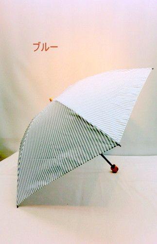 晴雨兼用・折畳傘−婦人UV加工・T/C先染めストライプ柄・丸ミニ折り畳み傘