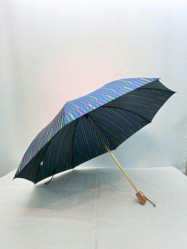 雨傘・折畳傘−婦人甲州産先染朱子格子織生地日本製軽量金骨2段式折傘