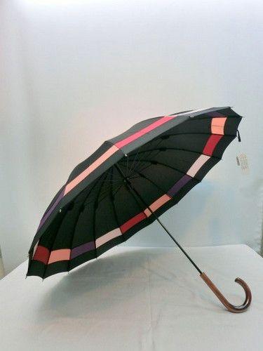 雨傘・長傘−婦人16本骨多色切り継ぎ手開き雨傘